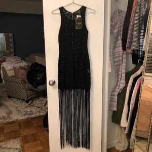 Missguided unlined blk lace maxi dress w/ fringe